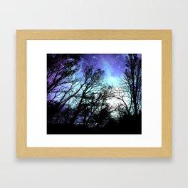 black trees periwinkle blue aqua space Framed Art Print