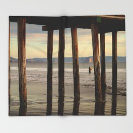 Looking Deeper Morro Bay through Cayucos Pier Throw Blanket