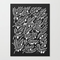 White Olive Branches Canvas Print