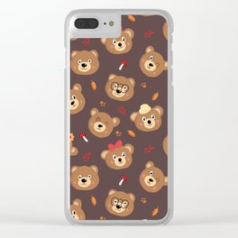Brown Bear Heads Repeating Pattern Clear iPhone Case