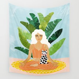 Meditation With Thy Cat #illustration #painting Wall Tapestry