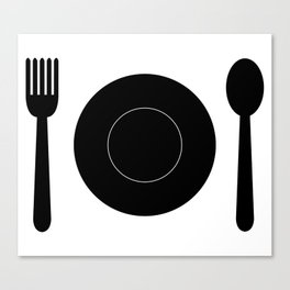 cutlery with plate Canvas Print