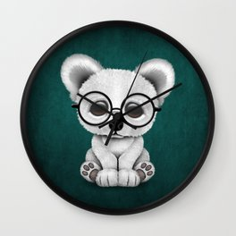 Cute Polar Bear Cub with Eye Glasses on Teal Blue Wall Clock