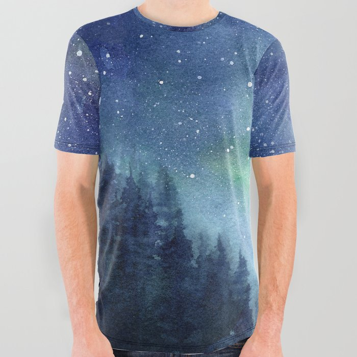 Watercolor_Galaxy_Nebula_Northern_Lights_Painting_All_Over_Graphic_Tee_by_Olechka__Large