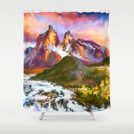 Road to twins at sunset Shower Curtain