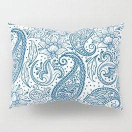 Blue ethnic ornate floral paisley pattern Pillow Sham