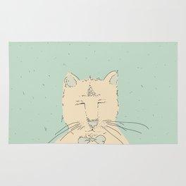 Cartoon cute cat think Rug