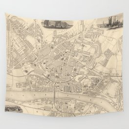 Vintage Map of Newcastle England (1851) Wall Tapestry
