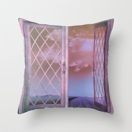 Lavender Fields in Window Shabby Chic original art Throw Pillow