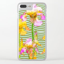 White-Pink  yellow Iris Wave Art Clear iPhone Case