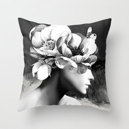 Floral Portrait-black and white Throw Pillow