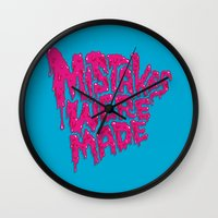 onesie Wall Clocks featuring Mistakes were made. by Chris Piascik