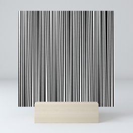 Simply small black and white handrawn stripes - vertical - Mix & Match with Simplicty of life Mini Art Print