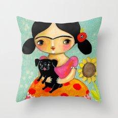 Frida with Black Pug dog by TASCHA Throw Pillow