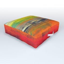 Horizon Blue Orange Red Abstract Art Outdoor Floor Cushion