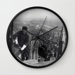 Construction worker Empire State Building NYC Wall Clock