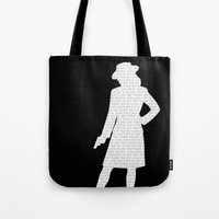 agent carter Tote Bags featuring Agent Carter by Kaitlin Andesign
