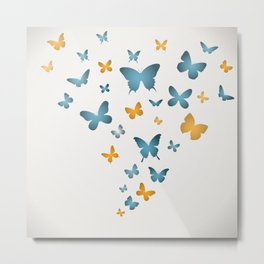 Butterfly Blue And Yellow Butterflies Metal Print