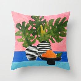 Pink Wall Monstera Throw Pillow