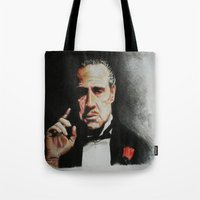 the godfather Tote Bags featuring The Godfather by Tridib Das
