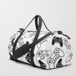 Video Games Black on White Duffle Bag