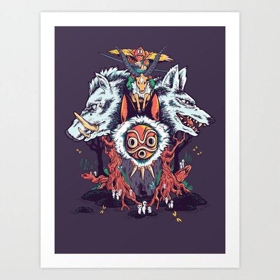 The Wolf Princess (Purple) Art Print