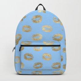 Glam Gold Kiss Lips Imprint Pattern Backpack