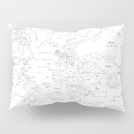 Popular World Marathons Map [Black and White] Pillow Sham