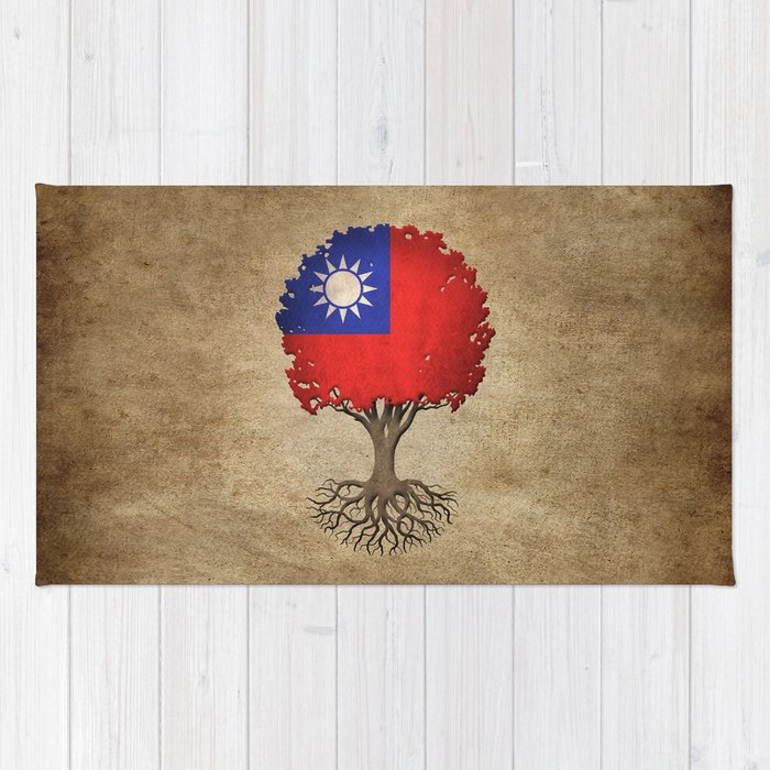 Vintage Tree of Life with Flag of Taiwan Rug