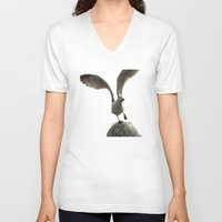 wings V-neck T-shirts featuring Wings by Avigur