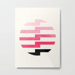Minimalist Mid Century Circle Frame Pink Zig Zag Colorful Lightning Bolt Geometric Pattern Metal Print