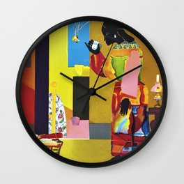 African American Masterpiece 'A Falling Star' by R. Bearden Wall Clock