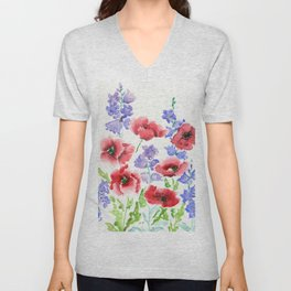 Poppies and Bells Unisex V-Neck