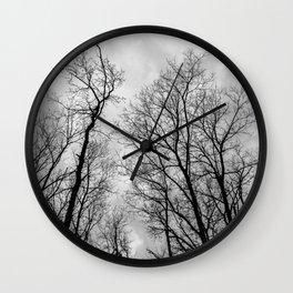 Creepy black and white trees Wall Clock