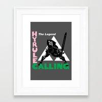 hyrule Framed Art Prints featuring Hyrule Calling by machmigo