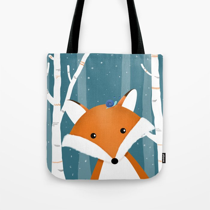 Fox and snail Tote Bag