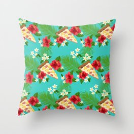 Hawaiian Pizza in a Hawaiian Print Throw Pillow