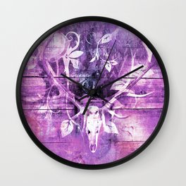 Ultra Violet Boho Skull and Antlers Wall Clock