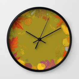 Autumn Doodle Leaves Wall Clock