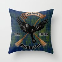 quidditch Throw Pillows featuring Ravenclaw team captain quidditch by JanaProject