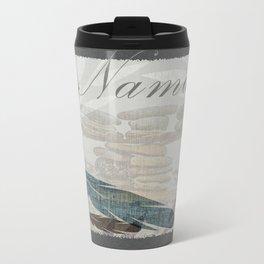 Zen Namaste Rocks and Feathers Beach Collage Design Metal Travel Mug