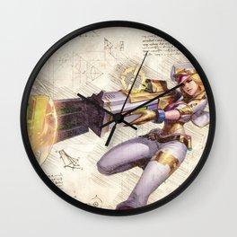 Prestige edition caitlyn arcade skin artwork adc da vinci style sketch Wall Clock