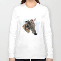 greyhound Long Sleeve T-shirts featuring greyhound unicorn by Ingrid Winkler