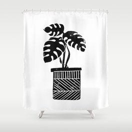 Linocut cheese plant monstera tropical leaf lino print black and white illustration art home dorm  Shower Curtain