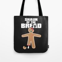 shaun of the dead Tote Bags featuring Shaun Of The Dead (Shaun Of The Bread) by Creative Spectator