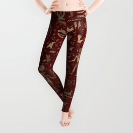 Ancient Egyptian Gods and hieroglyphs - Red Leather and gold Leggings
