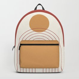 Mid Century Modern Geometric 36 in Terracotta Gold Beige Backpack