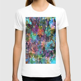 Colorful messy flowers collage T-shirt