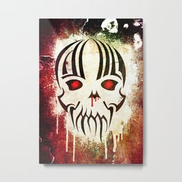 Bleeding Skull - Modern Skull with Blood and Grunge Texture Metal Print