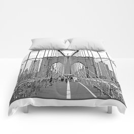 Brooklyn Bridge NYC [Black & White] Poster Print Comforters